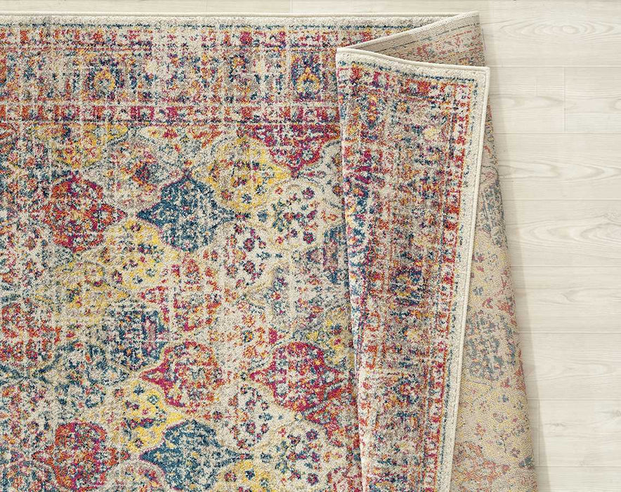 "HomeRoots 63"" x 86"" x 0.35"" Multi Olefin/Frieze Area Rug"