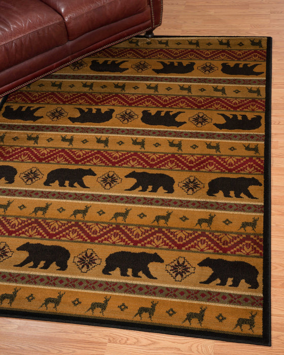 "HomeRoots 22"" x 26"" x 0.4"" Multi Polypropylene Nordic Bear Accent Rug"