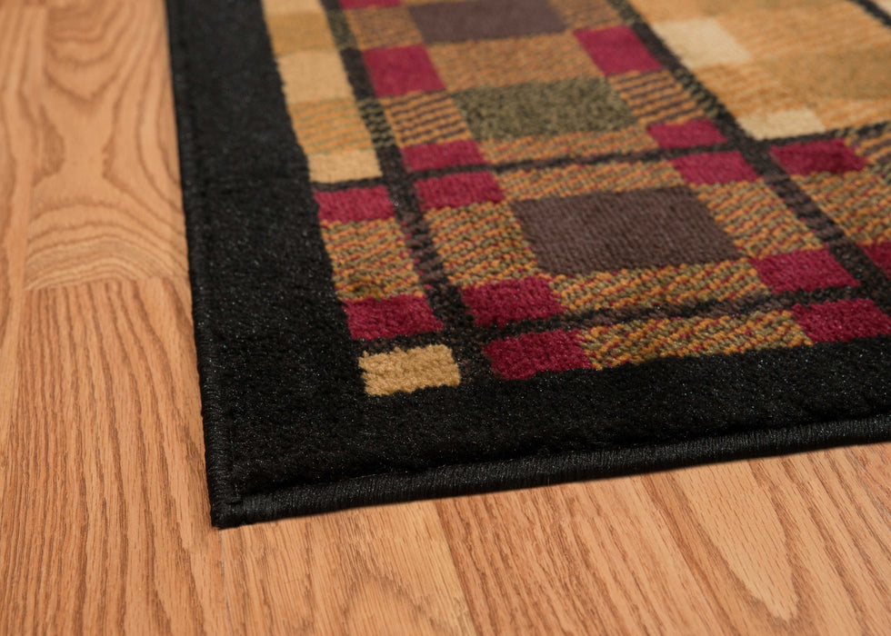 "HomeRoots 22"" x 86"" x 0.4"" Lodge Polypropylene Stamp Lodge Runner Rug"