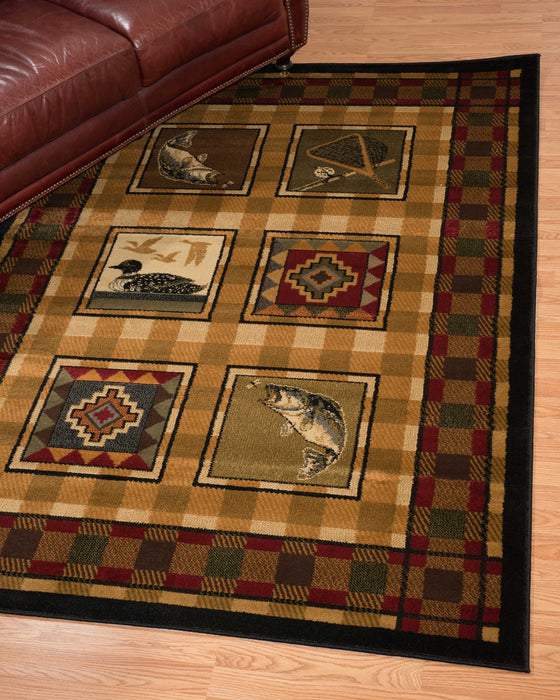 "HomeRoots 6 x 86"" x 0.4"" Lodge Polypropylene Stamp Lodge Area Rug"