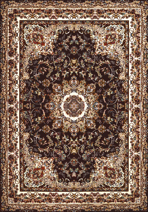 "HomeRoots 27"" x 86"" x 0.39"" Dark Brown Polyester Runner Rug"