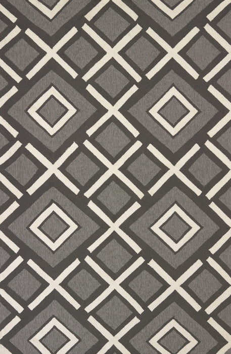 "HomeRoots 22"" x 36"" x 0.47"" Charcoal Olefin Accent Rug"