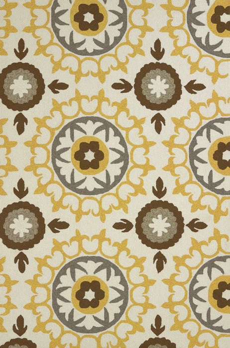 "HomeRoots 22"" x 36"" x 0.47"" Yellow Olefin Accent Rug"