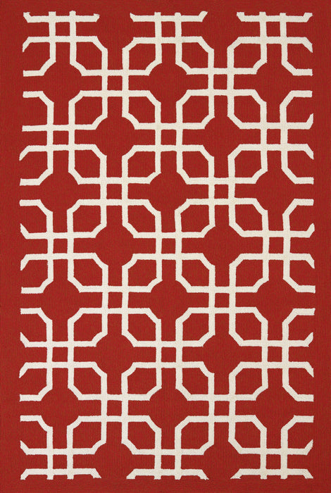 "HomeRoots 22"" x 36"" x 0.47"" Red Olefin Accent Rug"