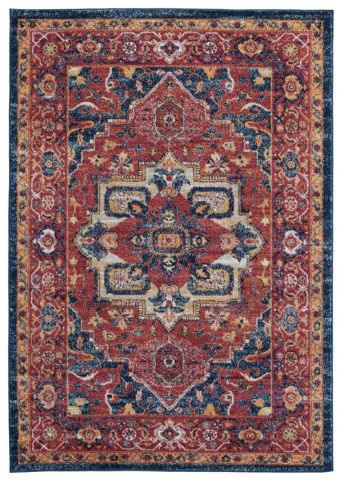 "HomeRoots 31"" x 86"" x 0.4"" Brick Olefin Runner Rug"