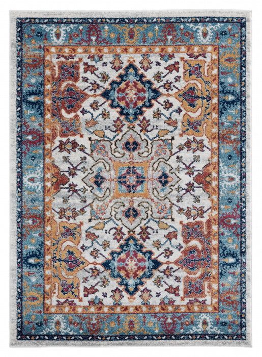 "HomeRoots 22"" x 36"" x 0.4"" Blue Olefin Accent Rug"
