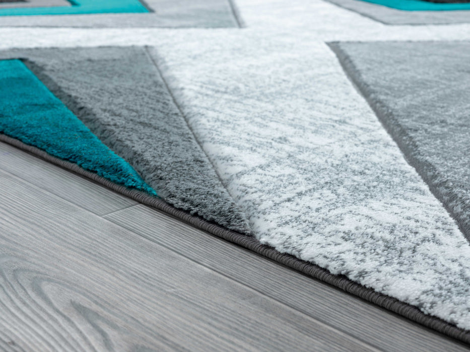 "HomeRoots 22"" x 32"" x 0.5"" Turquoise Olefin/Polypropylene Accent Rug"