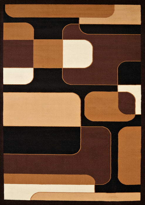 "HomeRoots 22"" x 36"" x 0.4"" Brown Olefin Accent Rug"