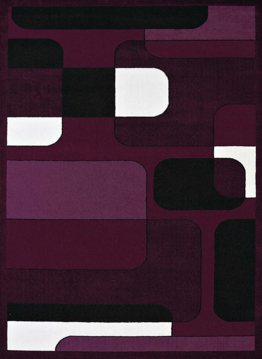 "HomeRoots 63"" x 86"" x 0.4"" Plum Olefin Area Rug"