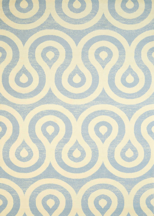 "HomeRoots 63"" x 86"" x 0.4"" Blue/Grey Olefin Area Rug"