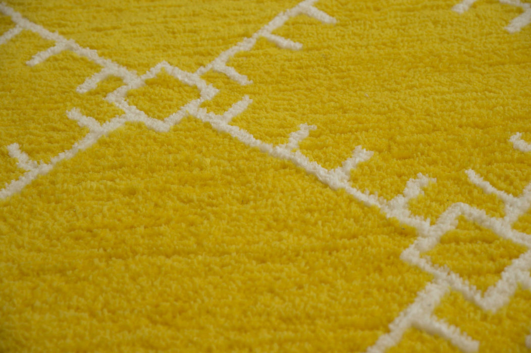 "HomeRoots 23"" x 36"" x 0.79"" Yellow Polyester Accent Rug"