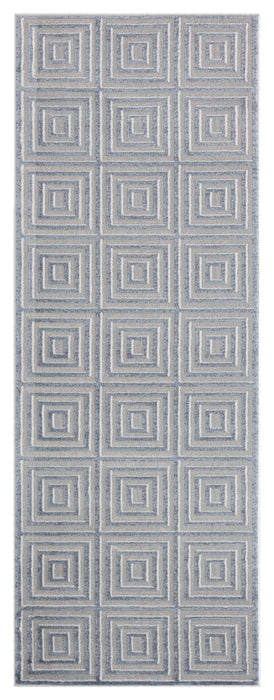 "HomeRoots 31"" x 86"" x 0.39"" Blue/Grey Polyester/Olefin Runner Rug"