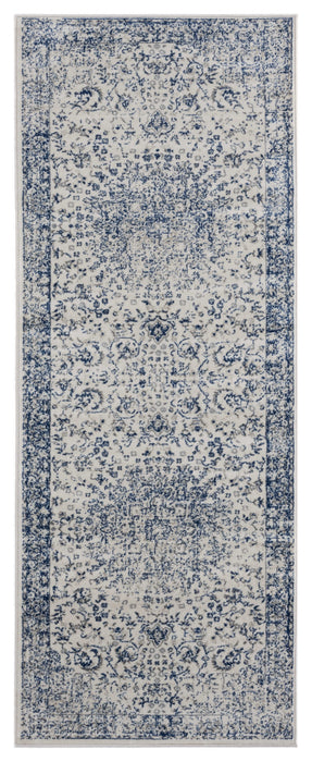 "HomeRoots 31"" x 86"" x 0.31"" Denim Blue Olefin Runner Rug"