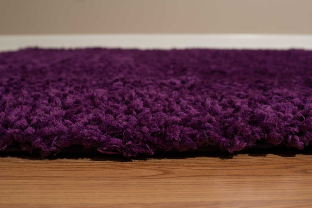 "HomeRoots 31"" x 47"" x 1.6"" Purple Polyester Accent Rug"