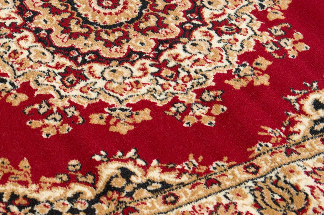 "HomeRoots 33"" x 39"" x 0.31"" Red Polypropyelene Accent Rug"