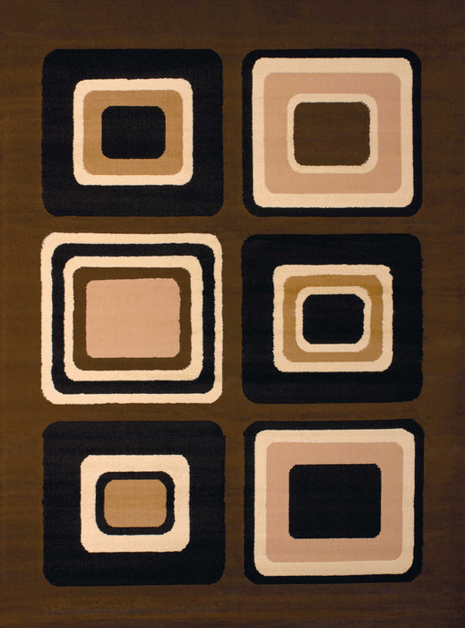 "HomeRoots 33"" x 39"" x 0.31"" Brown Polypropyelene Accent Rug"