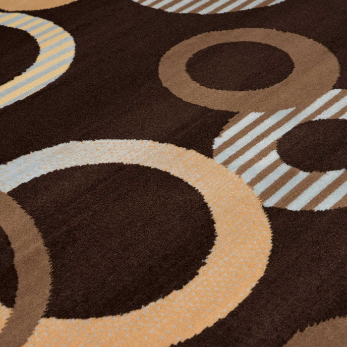 "HomeRoots 33"" x 39"" x 0.31"" Chocolate Polypropyelene Accent Rug"