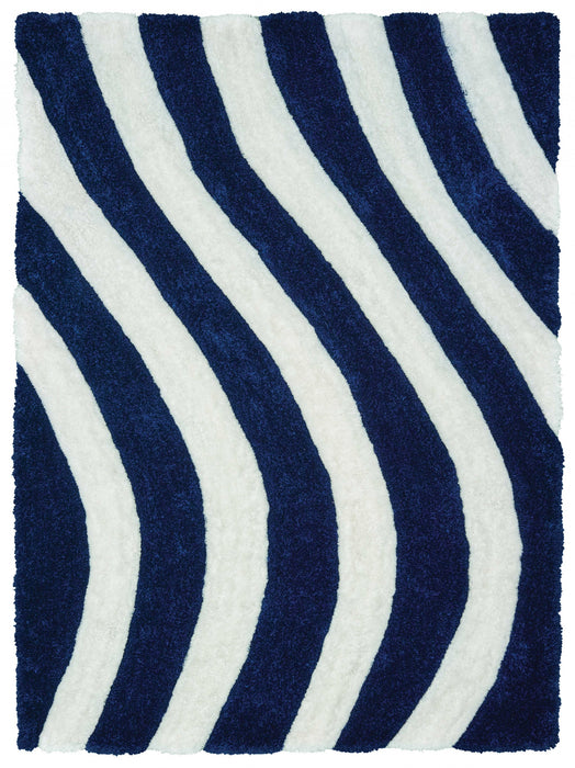 "HomeRoots 22"" x 26"" x 1.2"" Navy Polyester Accent Rug"