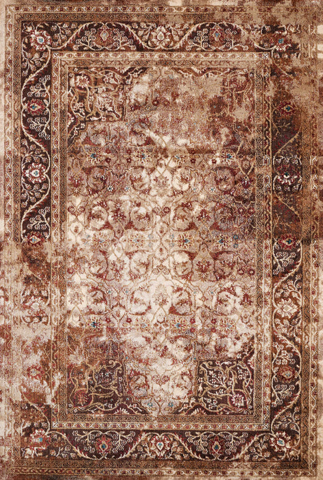 "HomeRoots 22"" x 86"" x 0.35"" Brown Olefin/Polyester Runner Rug"