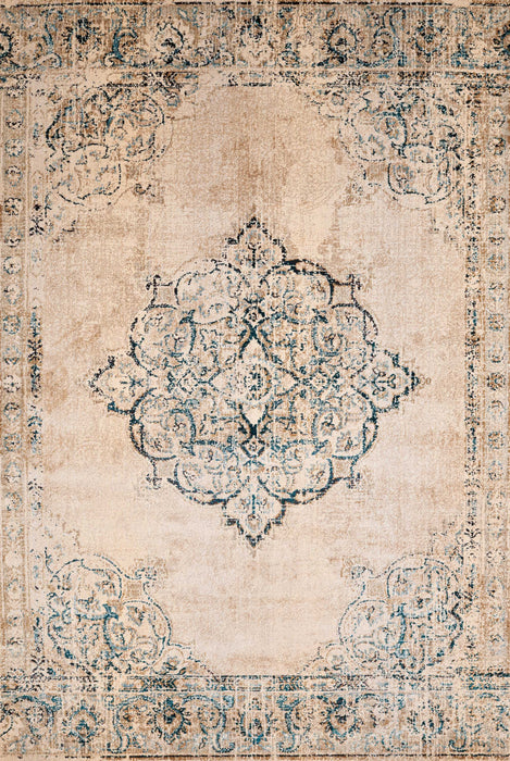 "HomeRoots 22"" x 86"" x 0.35"" Parchment Olefin/Polyester Runner Rug"