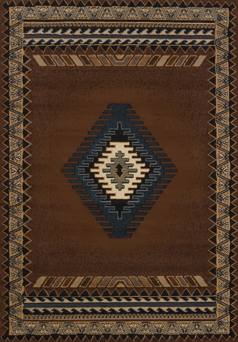 "HomeRoots 47"" x 63"" x 0.3"" Brown Polypropylene Accent Rug"