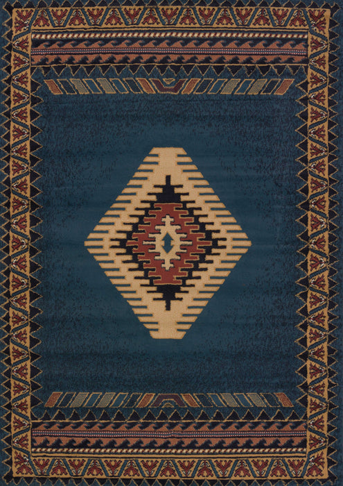 "HomeRoots 47"" x 63"" x 0.3"" LT Blue Polypropylene Accent Rug"