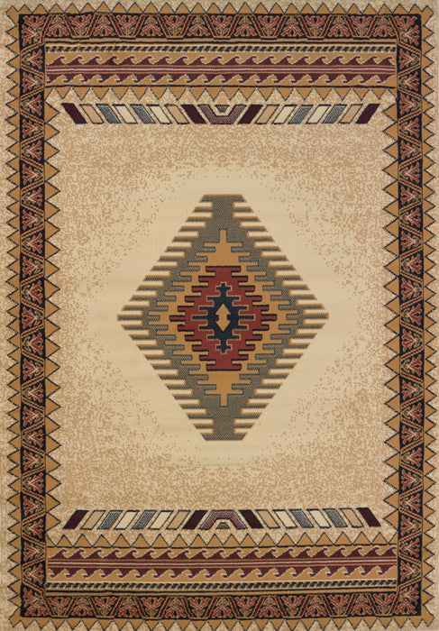 "HomeRoots 63"" x 90"" x 0.3"" Cream Polypropylene Area Rug"