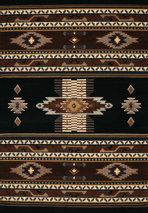 "HomeRoots 63"" x 90"" x 0.3"" Black Polypropylene Area Rug"