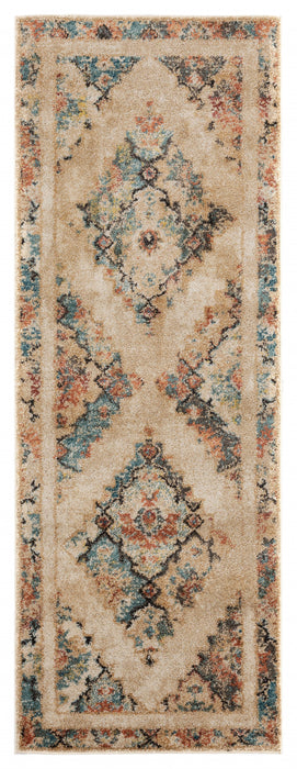 "HomeRoots 31"" x 86"" x 0.37"" Cream Olefin Frieze Runner Rug"