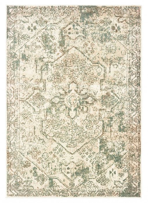 "HomeRoots 47"" x 63"" x 0.31"" Canvas Polypropylene Accent Rug"