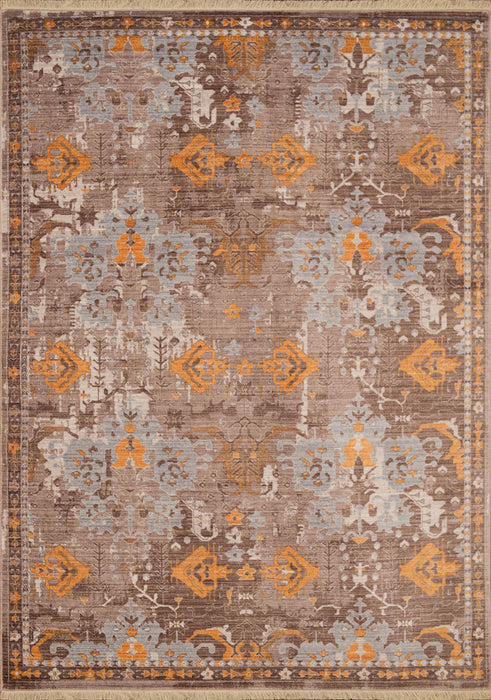 "HomeRoots 22"" x 33"" x 0.24"" Burnt Orange Polyester Accent Rug"