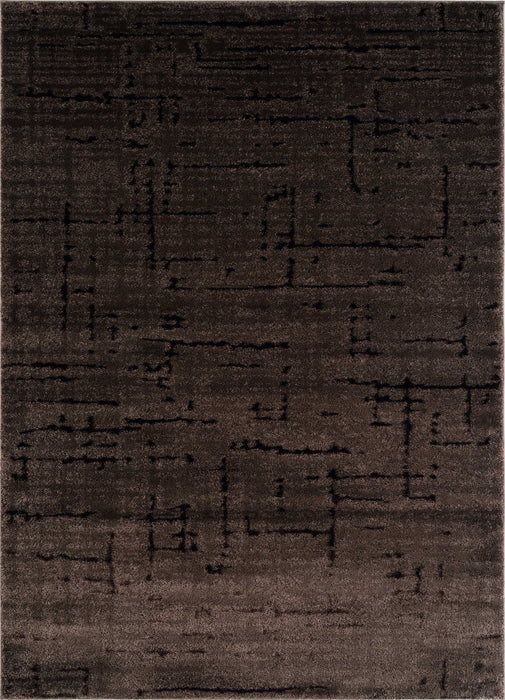 "HomeRoots 31"" x 81"" x 0.79"" Brown Polyester/Olefin Runner Rug"