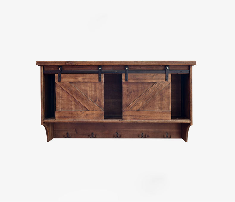 "HomeRoots Office 11"" x 40"" x 20"" Brown, Wood, Wall storage/Wall Shelf"