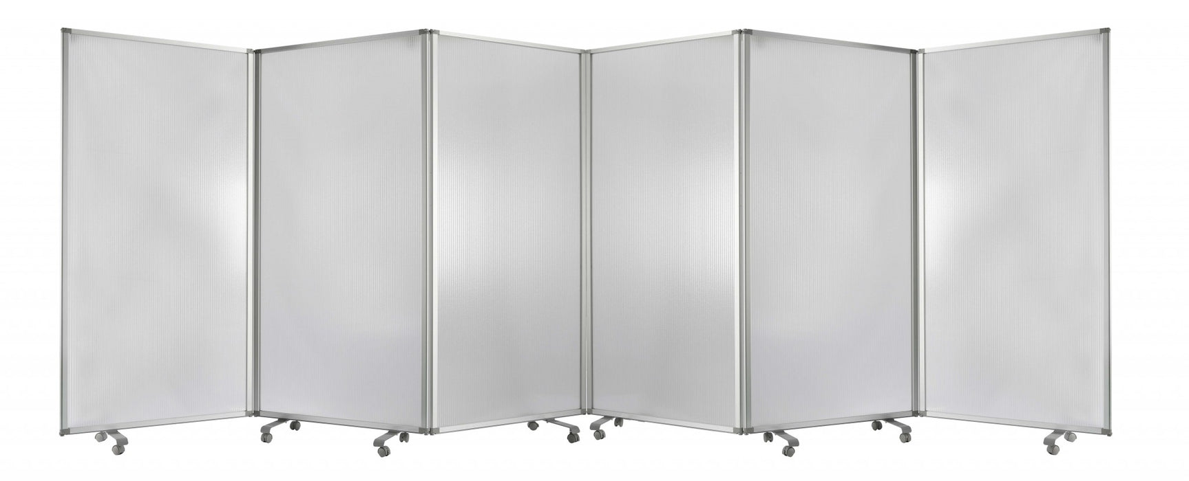 "HomeRoots 212"" x 1"" x 71"" Clear, Metal, 6 Panel, Resilient Screen"