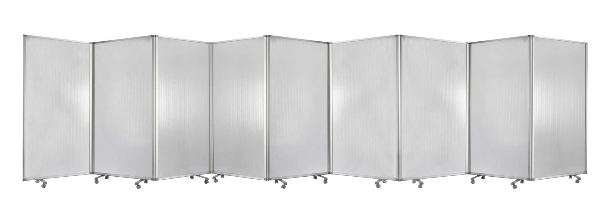 "HomeRoots 318"" x 1"" x 71"" Clear, Metal, 9 Panel, Resilient Screen"