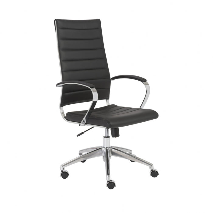 "HomeRoots Office 22.25"" X 27"" X 45.25"" High Back Office Chair in Black with Aluminum Base"