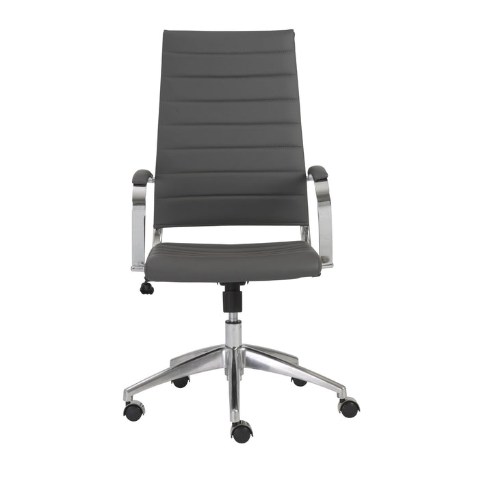 "HomeRoots Office 22.25"" X 27"" X 45.25"" High Back Office Chair in Gray with Aluminum Base"
