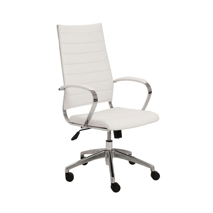 "HomeRoots Office 22.25"" X 27"" X 45.25"" High Back Office Chair in White with Aluminum Base"