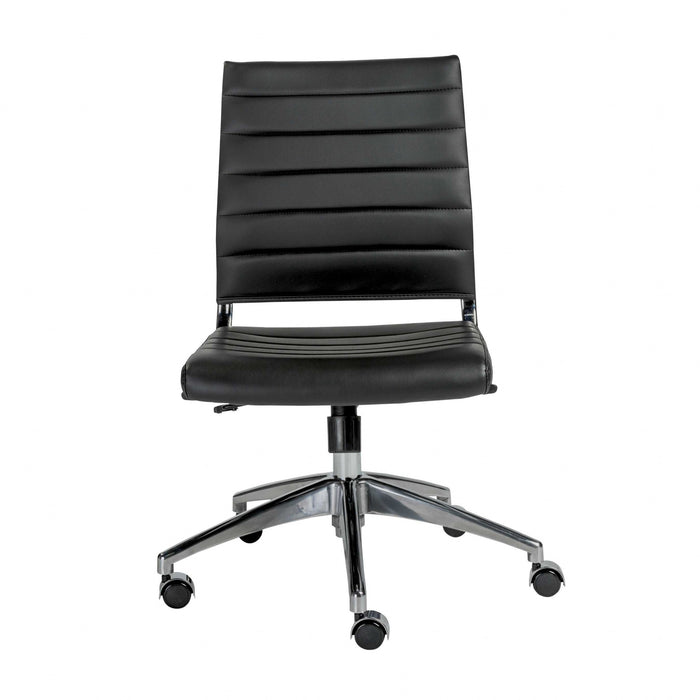 "HomeRoots Office 22.84"" X 24.61"" X 38.98"" Armless Low Back Office Chair in Black with Aluminum Base"