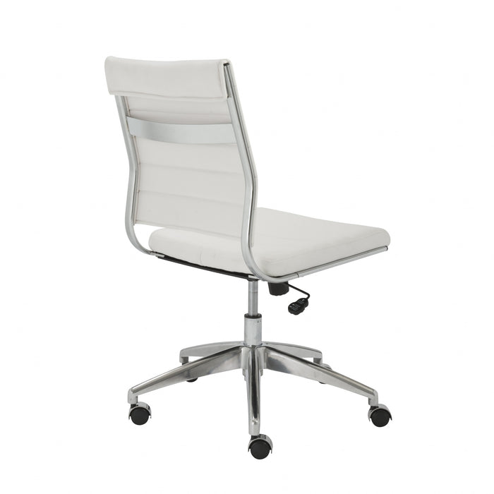 "HomeRoots Office 22.84"" X 24.61"" X 38.98"" Armless Low Back Office Chair in White with Aluminum Base"