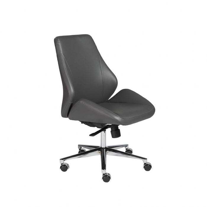 "HomeRoots Office 26.75"" X 26"" X 40.75"" Armless Low Back Office Chair in Gray with Chromed Aluminum Base"