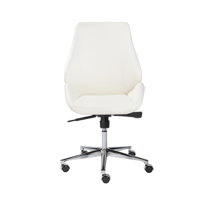 "HomeRoots Office 26.75"" X 26"" X 40.75"" Armless Low Back Office Chair in White with Chromed Aluminum Base"