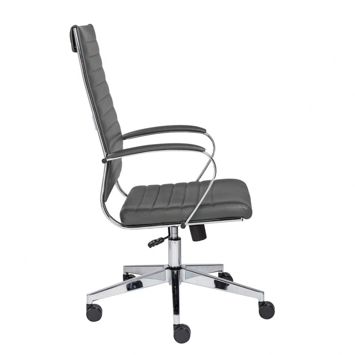 "HomeRoots Office 22.25"" X 27.01"" X 45.28"" High Back Office Chair in Gray"