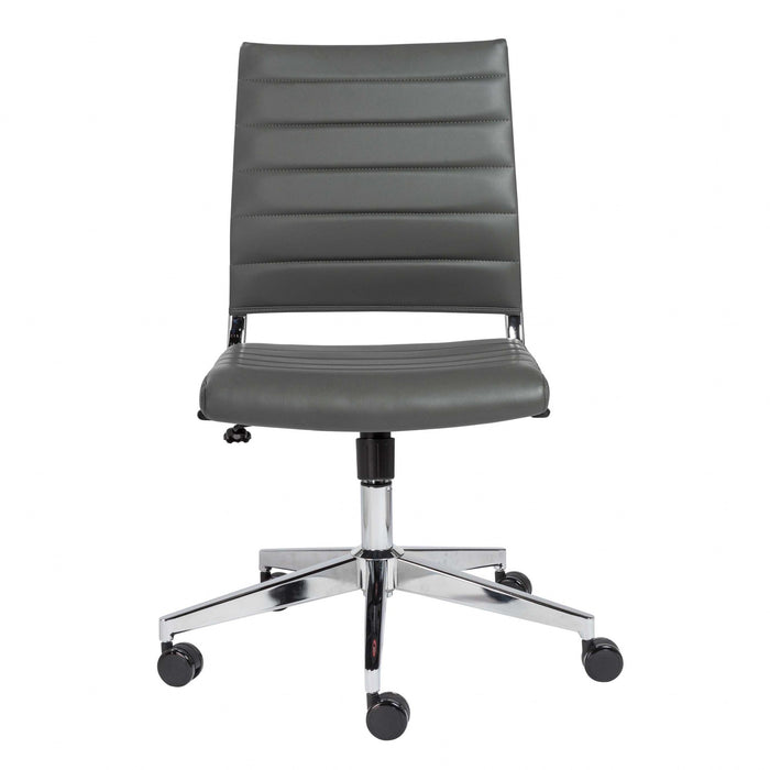 "HomeRoots Office 22.76"" X 26.26"" X 38"" Armless Low Back Office Chair in Gray"
