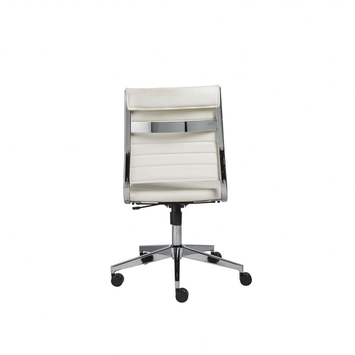 "HomeRoots Office 22.76"" X 26.26"" X 38"" Armless Low Back Office Chair in White"