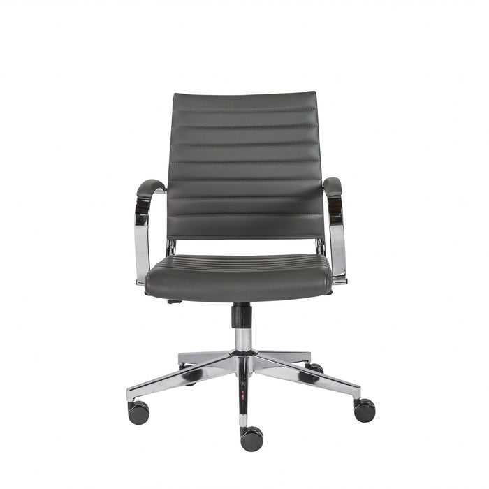 "HomeRoots Office 22.76"" X 26.26"" X 38"" Low Back Office Chair in Gray"