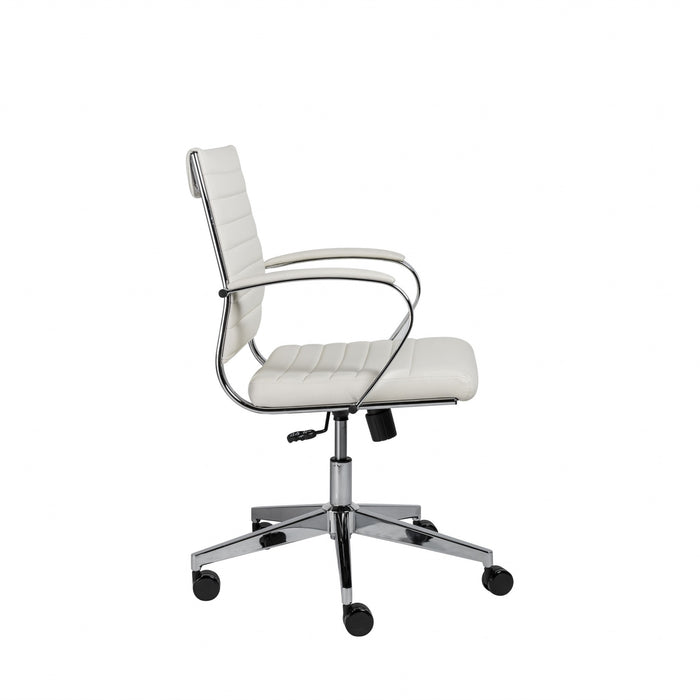 "HomeRoots Office 22.76"" X 26.26"" X 38"" Low Back Office Chair in White"