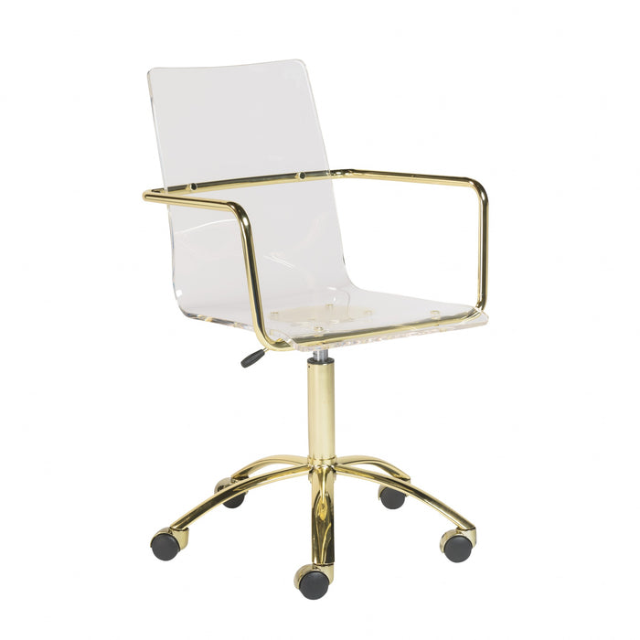 "HomeRoots Office 20.52"" X 22.01"" X 39.49"" Office Chair in Clear Acrylic with Gold Base"