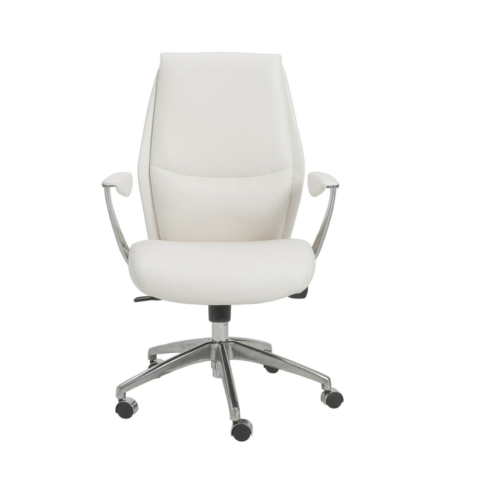 "HomeRoots Office 25.50"" X 27"" X 42.75"" Low Back Office Chair in White with Polished Aluminum Base"