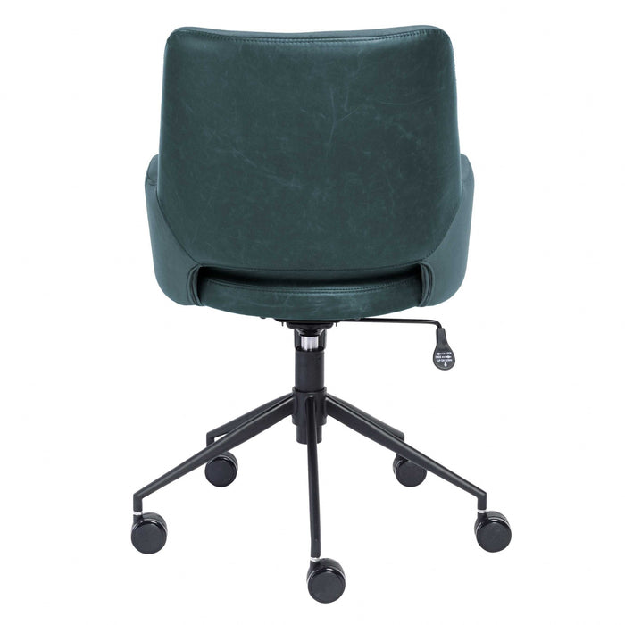 "HomeRoots Office 21.26"" X 25.60"" X 37.21"" Tilt Office Chair in Blue Fabric and Leatherette with Black Base"